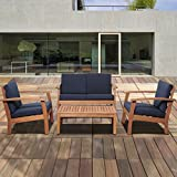 4-Pc Patio Conversation Set with Blue Cushions
