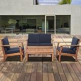 Cheap 4-Pc Patio Conversation Set with Blue Cushions