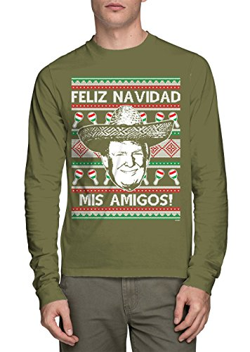 Long Sleeve Men's Trump Feliz Navidad Mis Amigos Shirt (Olive, (Amigo Olive)