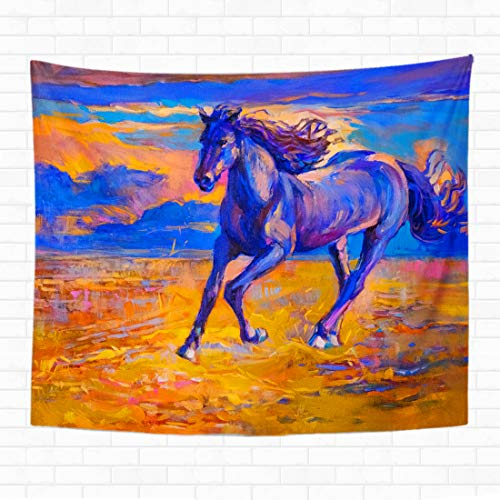 - Topyee Home Decorative Tapestry Wall Hanging Original Oil Painting of Running Horse Modern Watercolors Animal 50