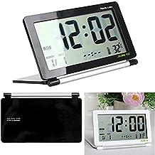 Portable Travel Alarm JUN-Q Mini Foldable Travel Alarm Clock with Temperature & Date & Week & Repeating Snooze Silent LCD Digital Screen Alarm Clock Black