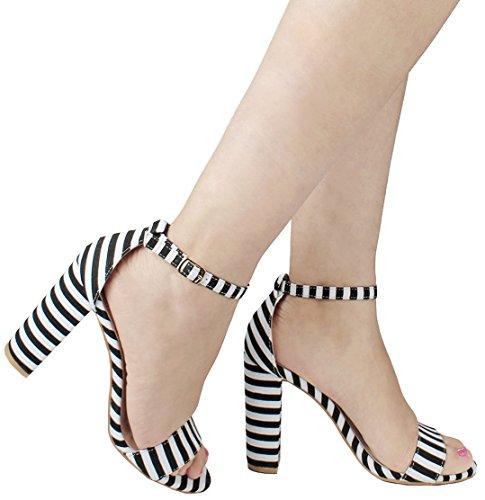 JJF Shoes Women's Classic Retro Stripe Sailor Strappy Open Toe Mary Jane Chunky Block Heel Dress Sandal-5.5 -