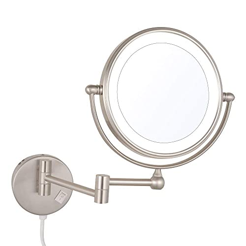 SANLIV Wall Mounted 8 Inch LED Lighted Makeup Shaving Mirror Double Sided with 7X Magnification, Brushed Nickel