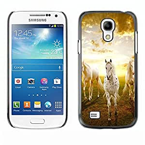 Impact Case Cover with Art Pattern Designs FOR Samsung Galaxy S4 Mini i9190 Clouds Horses Nature Sunset Mustang Betty shop