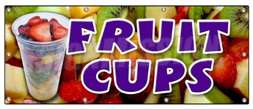 """UPC 682017688961, 36""""x96"""" FRUIT CUPS BANNER SIGN peaches pineapple orange cocktail salad syrup berry"""