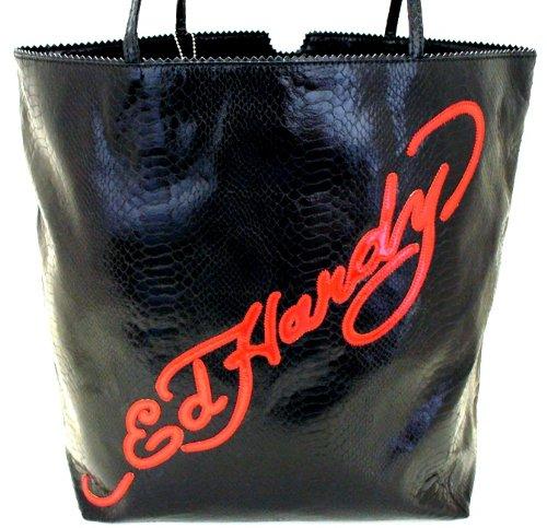 Amazon.com  Ed Hardy Large Bon Skull Design Snakeskin Tote Bag - Black   Clothing 81868d295f14e
