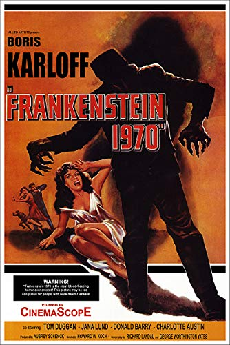 American Gift Services - Vintage Science Fiction Horror Movie Poster Frankenstein 1970-18x24