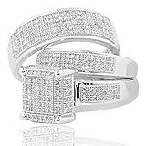 10K White Gold Wedding Trio Rings Set Extra Wide 1.00ctw Diamond Square top(i2/i3, i/j)