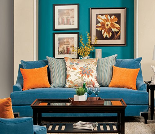 Furniture Of America Cyanna Sofa Peacock Blue Best Sofas Online Usa