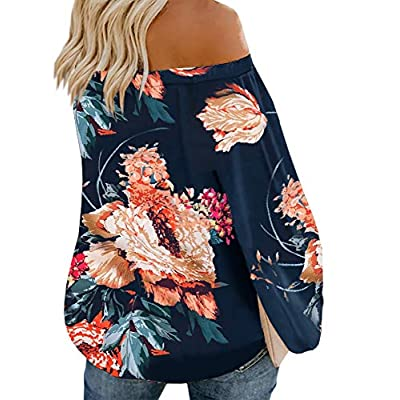 Gemijack Womens Off The Shoulder Tops Boho Floral Print Long Sleeve Blouse Shirts at  Women's Clothing store