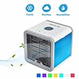 Tanwell Arctic Air, Space Cooler, 3 in 1 USB Mini Air Conditioner, Humidifier, Purifier and 7 Colors, As Seen On TV, Portable Air Conditioner for Office and Bedroom (white)