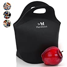 Large Neoprene Lunch Bag Lunch Box for Women Girls Adults Kids- Machine Washable Lunch Bags -Folds Easy