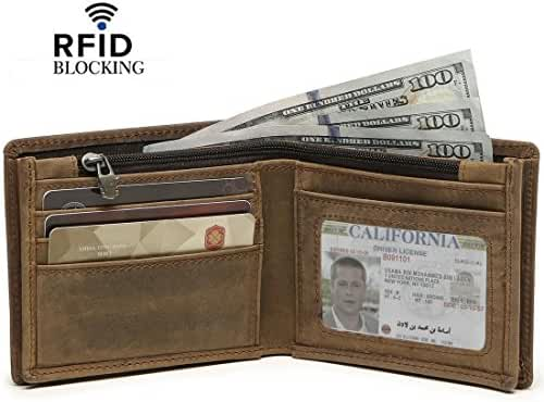 Reeple Men's RFID Blocking Cowboy Natural Cowhide Leather Bifold Zipper Wallet