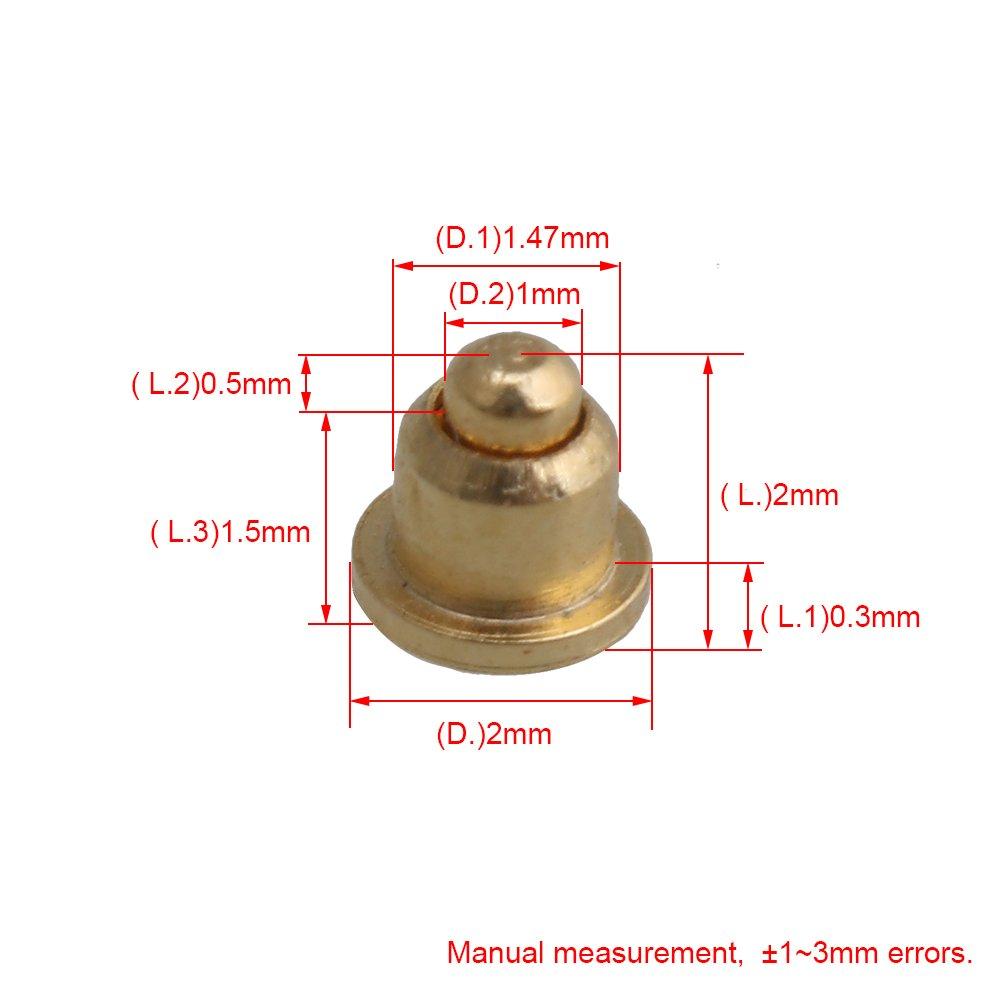 Yibuy Vergoldet Kupfer Pogo-Pins Sonde Spring Loaded Wasserdicht 0.2 x 0.2cm//0.079 x 0.079 inch Dia x H