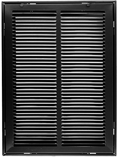 14'' X 25 Steel Return Air Filter Grille for 1'' Filter - Removable Face/Door - HVAC DUCT COVER - Flat Stamped Face - Black [Outer Dimensions: 16.5''w X 27.5''h] by HVAC Premium