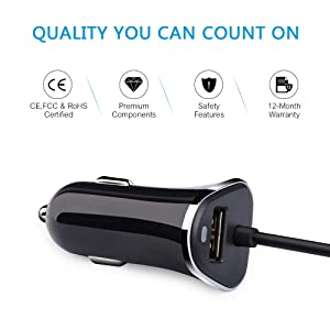 Samsung Galaxy 8 Car Charger, Ailkin 3.4A/3ft USB Type C Car Charger Adapter & Power Cable Line for S9 S8 Note 8, Pixel, LG V40 V30 G7 G6 G5, Google P