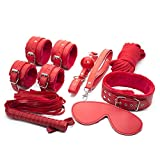 JIAHAO 7pcs Game Leather Bondage Restraint Set Blindfold Collar Gag Handcuffs