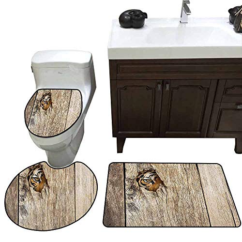 3 Piece Bath mat Set Safari Decor Siberian Tiger Eye Looking Through Wooden Peep Hole in Spy Predator Big Cat Wild 3 Piece Toilet Cover Set