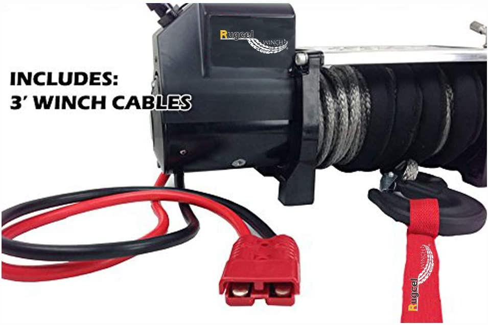 RUGCEL WINCH 1-Gauge 800A Permanent Installation Kit Jumper Battery Cables 25 Ft Booster Jump Start ENB-130-30 Allows You to Boost a Battery from Behind a Vehicle