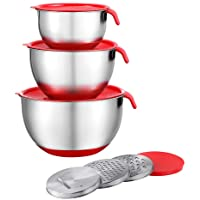 Stainless Steel Mixing Bowls with Airtight Lids, Measurement Marks & Non-Slip Bottom Nesting Bowl Set of 3 Stackable Design for Kitchen Cooking Baking Food Storage with 3 Grater Attachments