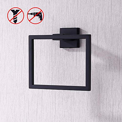 Kes Bathroom Towel Ring SUS 304 Stainless Steel Shower Towel Hanger Holder Modern Square Style Wall Mount No Drill Self Adhesive Glue Matte Black Finish, A2480DG-BK (Black Towel Ring)