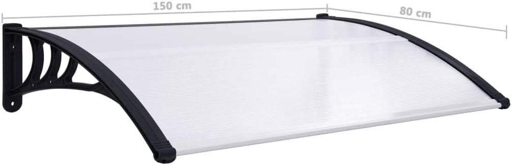 ABS-Halterung UnfadeMemory T/ürvordach PC Haust/ürvordach Vordach /Überdachung T/ürdach Polycarbonatplatten 150 x 80 cm, Schwarz//Transparent Aluminiumleisten Witterungsbest/ändig