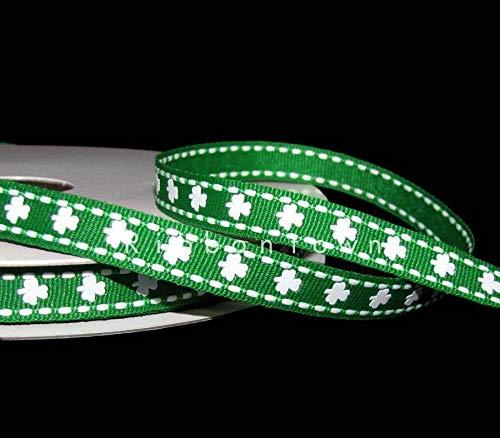 - Ribbon Art Craft Decoration 5 Yards St. Patrick's Day Green White Shamrock Clover Stitched Grosgrain Ribbon