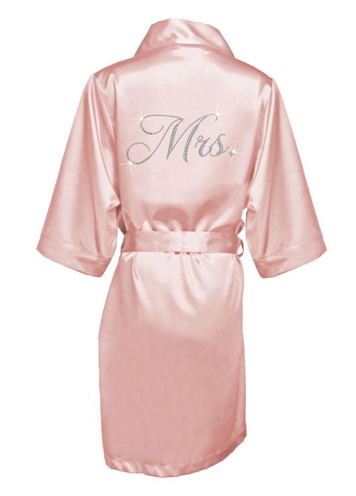 Glam Script Rhinestone Mrs. Satin Robe Style GLAMMRSROBE, Blush, S/M