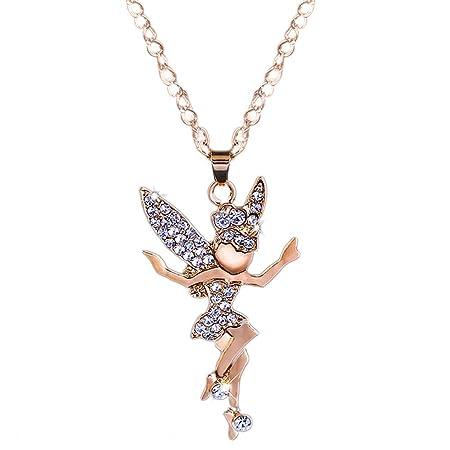 Xiaojing - Collar largo con colgante de elfo de ángel para mujer ...