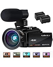 4K Camcorder, Aabeloy Vlogging Video Camera Ultra HD Wi-Fi Digital Camera 48.0MP 3.0 inch Touch Screen Night Vision 16X Digital Zoom Recorder with External Microphone and Wide Angle Lens, 2 Batteries