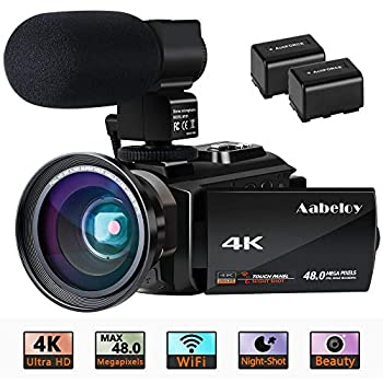Image of 4K Camcorder, Aabeloy Vlogging Video Camera Ultra HD Wi-Fi Digital Camera 48.0MP 3.0 inch Touch Screen Night Vision 16X Digital Zoom Recorder with External Microphone and Wide Angle Lens, 2 Batteries