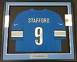 DETROIT LIONS MATTHEW STAFFORD AUTOGRAPHED FRAMED BLUE NIKE JERSEY PSA/DNA STOCK #90513