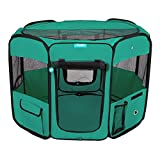 DELUXE PREMIUM Pet Dog Playpen Portable Soft Dog Exercise Pen Kennel with Carry Bag for Dogs, Cats, Kittens, and all Pets (Medium, Green)