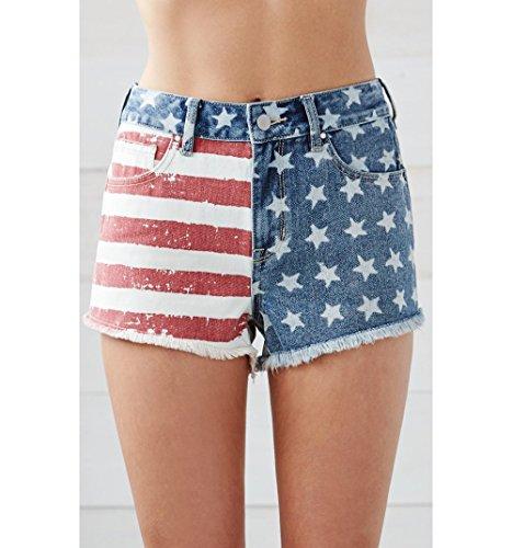 Bullhead Denim Co. Womens American Flag High Rise Cutoff Denim Shorts