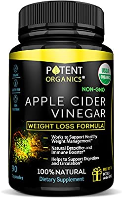 USDA Organic Apple Cider Vinegar - 90 Capsules For Healthy Diet & Weght Loss - 100% Raw, Kosher, Vegan and Non-GMO - Supports Body Detox - Made in USA - Add to Garcinia Cambogia