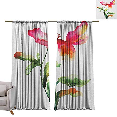 berrly Custom Curtains Watercolor Flower,Shaded Single Poppy Flowering Plant Muse Nature Earth Divine Grace, Red Green White W84 x L84 Grommet Window Drapes