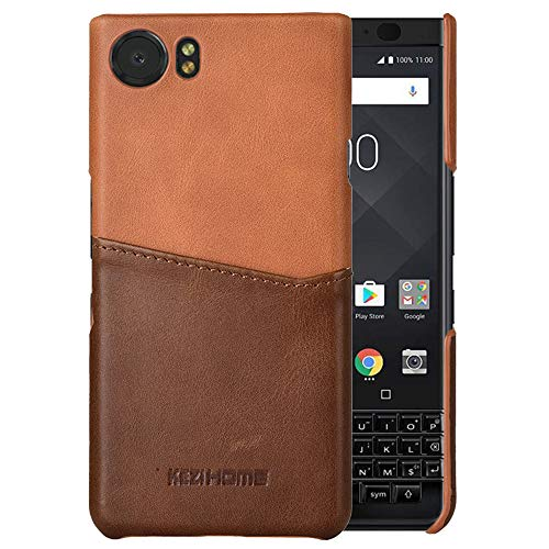 BlackBerry KEYone Case,Two-Tone Vintage Insert Card Genuine Leather Back Cover for BlackBerry KEYone (Khaki)