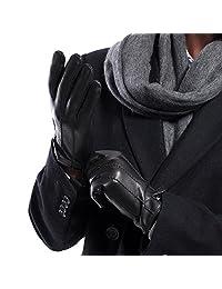 MATSU Classical Men Winter Warm lambskin Leather Wool Lined Gloves M1051