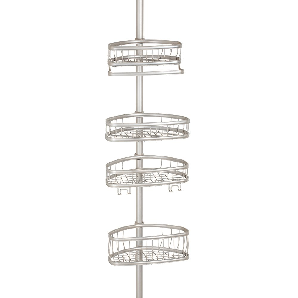InterDesign 縦型 突っ張り棒 伸縮棒 シャワー コーナー 四角 バスケット付き ポール York サテン 42675EJ  サテン B00OFVZOMY