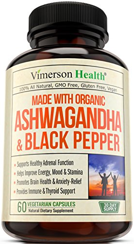 Ashwagandha Winter Cherry Powder (Ashwagandha with Black Pepper 1300mg - made with Organic Root Powder Extract. Anxiety & Stress Relief, Adrenal & Thyroid Support, Brain & Immune Health and Energy Boost. Natural Certified Supplements.)