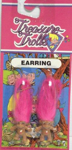 Treasure Troll Earrings with Pink Hair ()