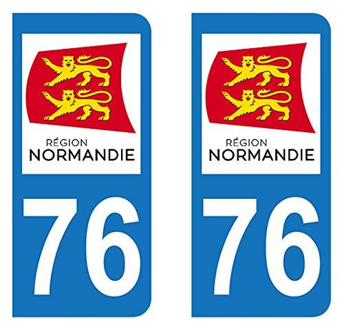 Autocollant immatriculation 76 - Nouvelle ré gion Normandie Autocollant-immatriculation