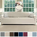 Sofa Shield Original Fitted 1 Piece Oversize Sofa Slipcover, Soft Stretch Material, Seat Width Up to 78 Inch Furniture Protector, Washable Couch Covers, Spandex Fit Slip Cover, Oversize Sofa, Linen