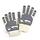 Heat Resistant Oven Gloves Hot Surface Handler Oven Mitts With Fingers Cooking Gloves EN407 Certified By Azzel (1 Pair)