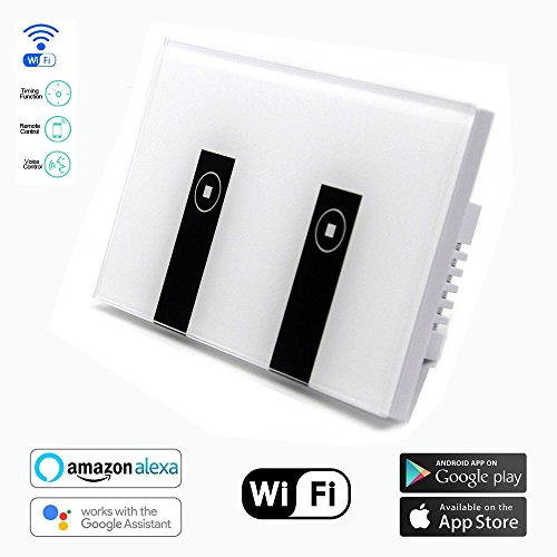 Touch Plate Lighting Control - Smart Switch OMAGAX WIFI Smart Wall Light Switch 2 Gang Wireless in Wall Switch Glass Touch Panel Plate Compatible with Alexa Echo Google Home Remote Control Lights by Android IOS APP Timing Function