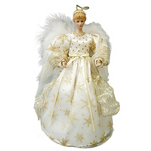 Cosette Christmas Angel Tree Topper Decor Collection Snowflake Bowknot White & Gold Dress (Snow Angel Tree Topper)