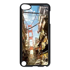 Bloomingbluerose Apocalyptic Cyberpunk Noir City Cityscapes Future Dystopia Case for Ipod Touch 5 Girl Design Protective, Ipod Touch5 Case Unique for Guys with Black