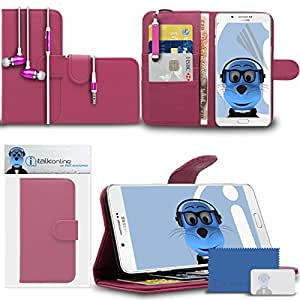 iTALKonline Samsung Galaxy A8 SM-A800F Pink PU Leather Executive Multi-Function Wallet Case Cover Organiser Flip with Credit / Business Card Money Holder Integrated Horizontal Viewing Stand, LCD Screen Protector, Headphone mount 3.5mm Retractable Mini Stylus Pen and 3.5mm Stereo Hands Free HeadPhones with Mic