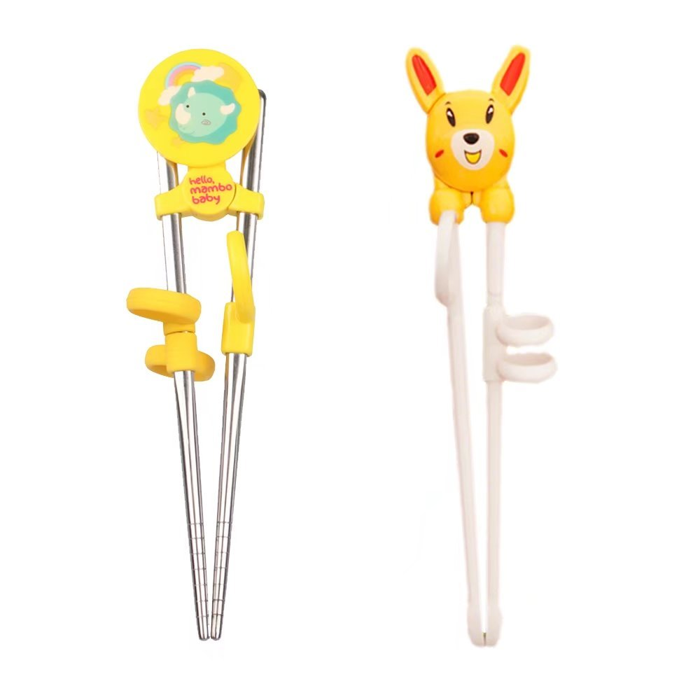 KateDy 2 Pairs Training Chopsticks Helper for Right Hand Baby Kids Beginner,Cute Animals Sticks Chopsticks Utensil Set Flatware,Learn How to Use Chopsticks-Yellow