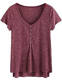 Women's Casual V Neck Short Sleeve Button Henley T-shirt Tops